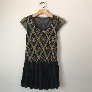 Free People lace beaded blouse tunic top